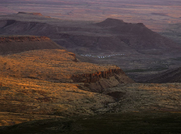 Main Rest Camp and desert mountains at sunset, Karoo National Park, Cape Province, South Africa