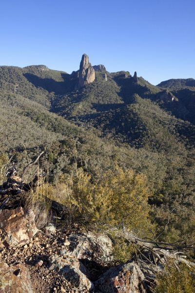 Belougery Spire and the Breadknife, from Macha Tor. Warrumbungle National Park, Orana region, New South Wales, Australia