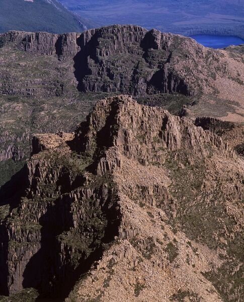 Boulder-strewn slopes of summit of Mount Anne 1425 m, aerial photograph. Southwest National Park, Tasmania, Australia