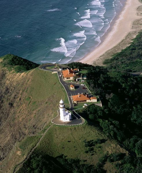 Byron Bay lighthouse from the air, New South Wales, Australia