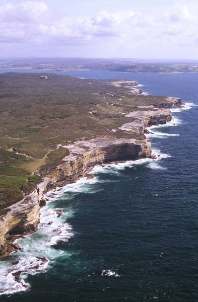 Cliffs and heathland at Kurnellaerial Kamay Botany Bay National Park, Sydney, New South Wales, Australia