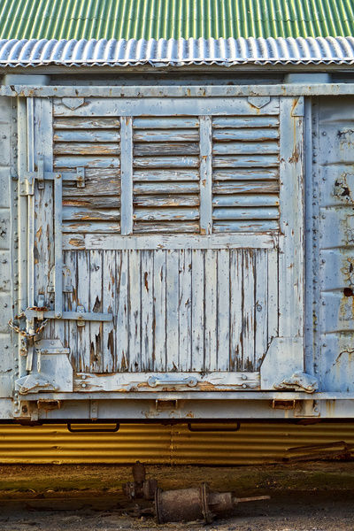The door of an old freight train given a new lease of (rustic) life. Morgan, South Australia, Australia