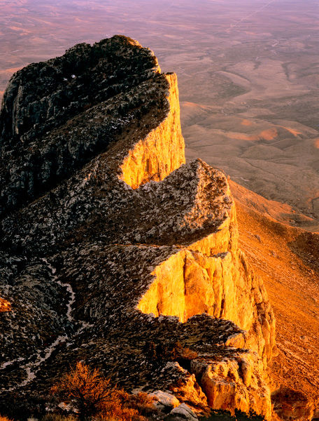 El Capitan, 2464 m, from Guadalupe Peak, 2667 m. Iconic to West Texas. Guadalupe Mountains National Park, Texas, USA