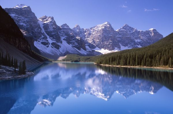 Lake Moraine, 1884 m above sea level in the Valley of the Ten Peaks. Banff National Park, Canadian Rockies, Alberta, Canada