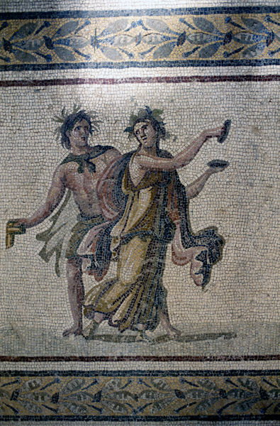 Mosaic floor, Bacchic dancers, 2nd to 3rd centuries AD. Antakya, Hatay Province, Turkey