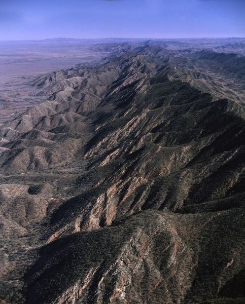 Mountainous ridge north of Brachina Gorge, aerial photograph. Flinders Ranges National Park, South Australia