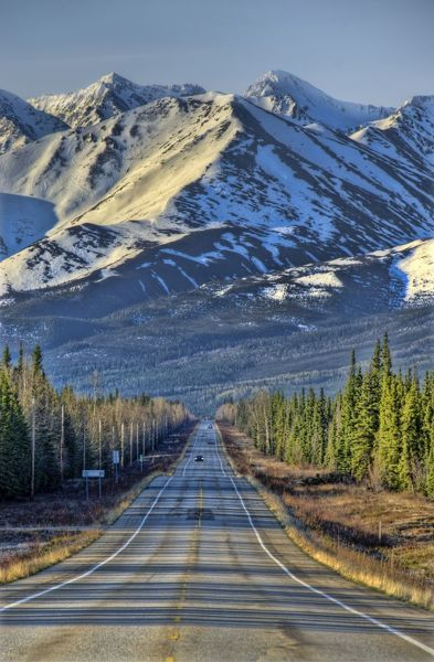 Mountains and the Steese Highway that goes for 259 km between Fairbanks to Circle on the Yukon River 80 km south of the Arctic Circle. Alaska, USA