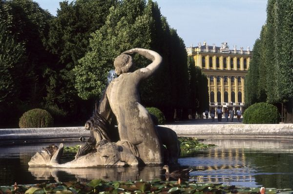 Naiad Fountain in the grounds of the Schoenbrunn Palace, Vienna, Austria