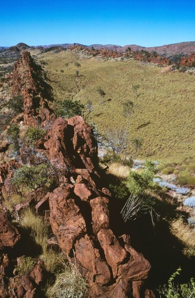 Outcroppings on parallel ridges, West MacDonnell Range. West MacDonnell National Park, Northern Territory, Australia