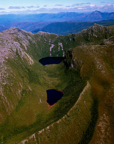 Schnells Ridge (near Mount Anne) with Smiths Tarn below it, and Moraine Tarn towards the bottom of the image. Southwest National Park, Tasmania, Australia