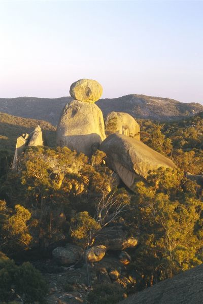 The Sphinx, balancing rock, granite formation, from Turtle Rock. Girraween National Park, southern Queensland, Australia