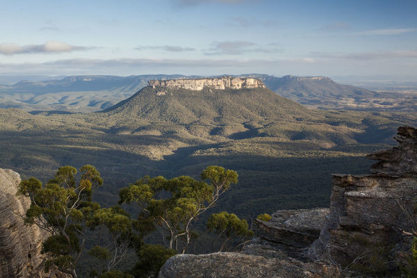 Vista from McLeans Pass of Pantoneys Crown in the Capertee Valley. Gardens of Stone National Park, New South Wales, Australia
