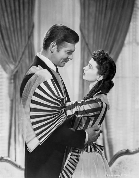 1938 photograph of Vivien Leigh and Clark Gable in a scene from the film, Gone With The Wind