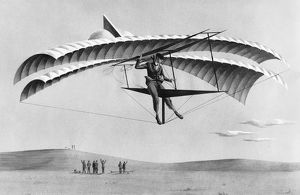 1883: painting of John J Montgomery in his gliding machine