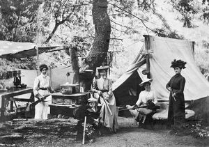 1890: female campers at campsite armed with rifles
