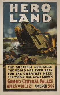 1917: a lithograph poster of the British tank Britannia in actio