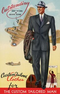 1940: advertising poster for custom tailored clothing for men