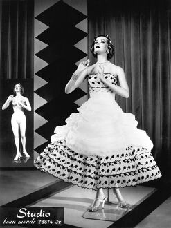 1950s: fashion mannequin with inset image of unclothed version