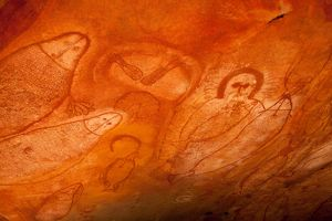 Aboriginal cave paintings in rock shelter - Gwion Gwion (formerly called Bradshaw) rock art,