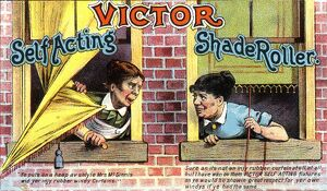 Advertising poster for Victor roller blinds circa 1900