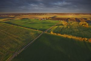 Aerial photograph of farmland,