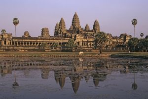 Angkor Wat, the world's largest Hindu temple, now a Buddhist temple,