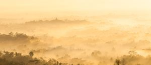 Borobudur glimpsed through the early morning mist in the Kedu Valley, tinged gold