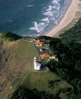 Byron Bay lighthouse from the air,