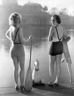 ca 1935: bathing beauties Adrienne Dore and Mae Madison