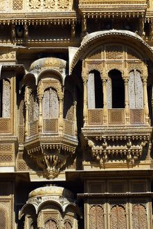 Carved sandstone facade of one of the havelis or mansions for which the city is famed
