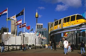 City and monorail from bridge to Darling Harbour,