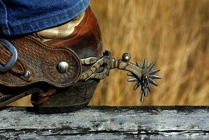 Cowboy's booted heel with spur