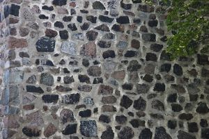 Exterior wall composed of stones and mortar,