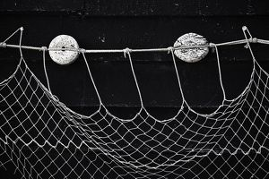 Fishing net with floats attached,