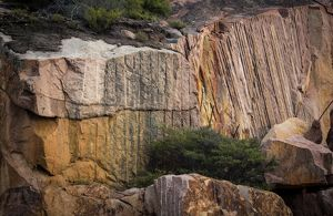 Fluted, colourful rock,