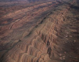 Folded sandstone and quartzite ridges of the Western MacDonnell Ranges,