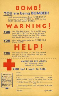 Fundraising leaflet produced by the American Red Cross during World War Two