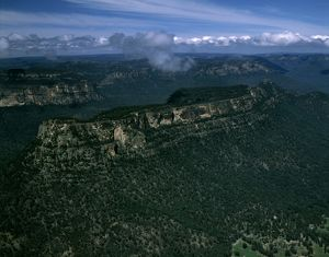 Glen Davis area with view south to Blue Mountains National Park,