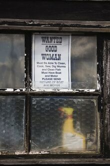Humorous notice in shed window,