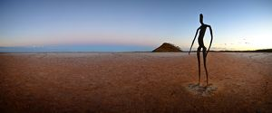 One of the 51 steel figures by Antony Gormley on Lake Ballard,