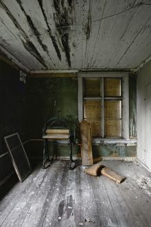 Interior of abandoned inn,