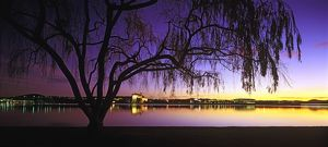 Lake Burley Griffin with High Court, Parliament House and National Library
