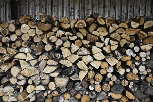 Neatly stacked woodpile,