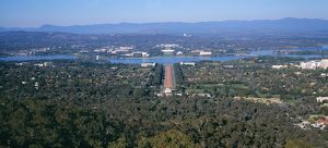 Parliament House from Mount Ainslie over Lake Burley Griffin