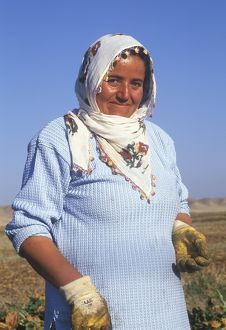 Portrait of female peasant farm worker,