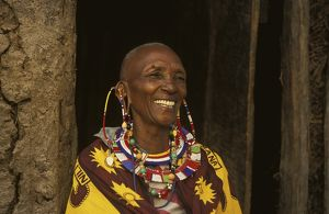 Portrait of Masai woman wearing traditional beaded jewellery