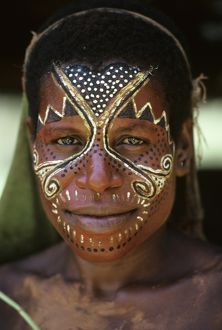Portrait of a Sepik woman with painted face.