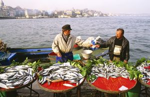 Quayside fish sellers