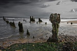 Remains of shipwreck on the Suffolk coast,