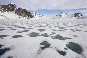 Sea ice and snow-covered coastal mountains,